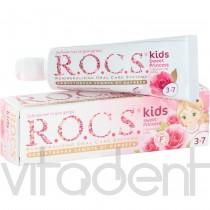 """Зубная паста (kids, """"R.O.C.S."""") аромат розы, без фтора, 3-7лет, 45г."""