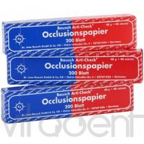 """Артикуляционная бумага (Articulating paper, """"Bausch"""") ВК80, красно-синяя, 40μ, 200 листов."""