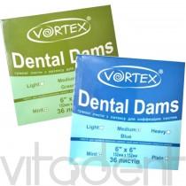 "Дентал Дамс (Dental Dams, ""VORTEX"") платки для коффердама, 152х152мм, 36шт."