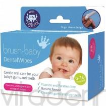 """Салфетки для гигиены полости рта (Dental Wipes, """"Brush-Baby"""") с ксилитолом, 28шт."""