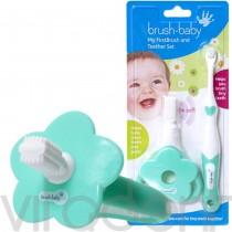 """Зубная щетка и грызунок (FirstBrush+Teether, """"Brush-Baby"""") набор, от 0 до 18 месяцев."""