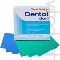 """Дентал Дам (Dental Dam, """"Sanctuary"""") платки для коффердама, синие, 152х152мм, 36шт."""